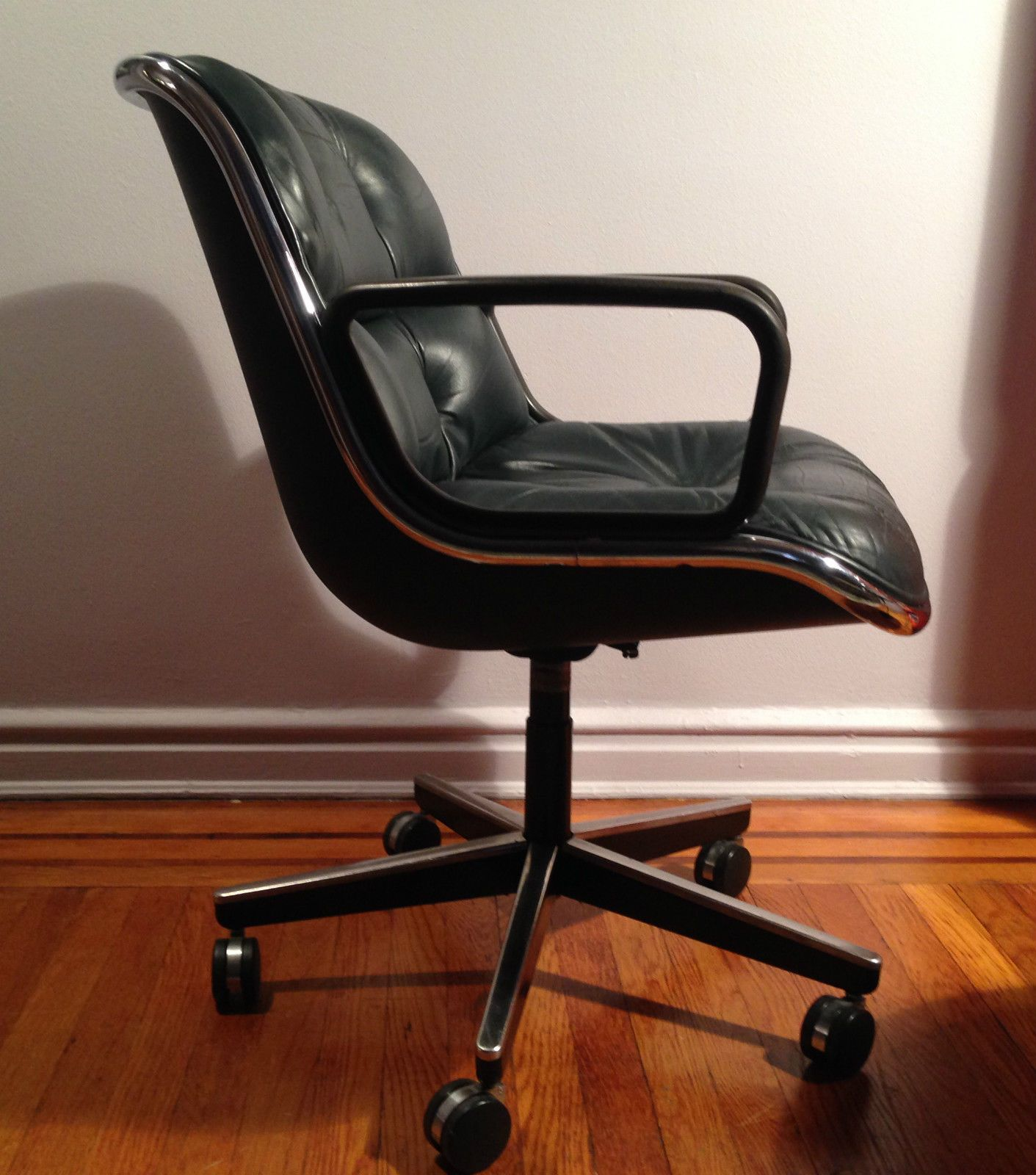 Vintage Pollock Desk Office Chair Knoll Mid Century Modern Leather