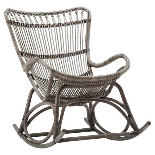 Photo of Alexis Coastal Beach Grey Rattan Rocking Chair