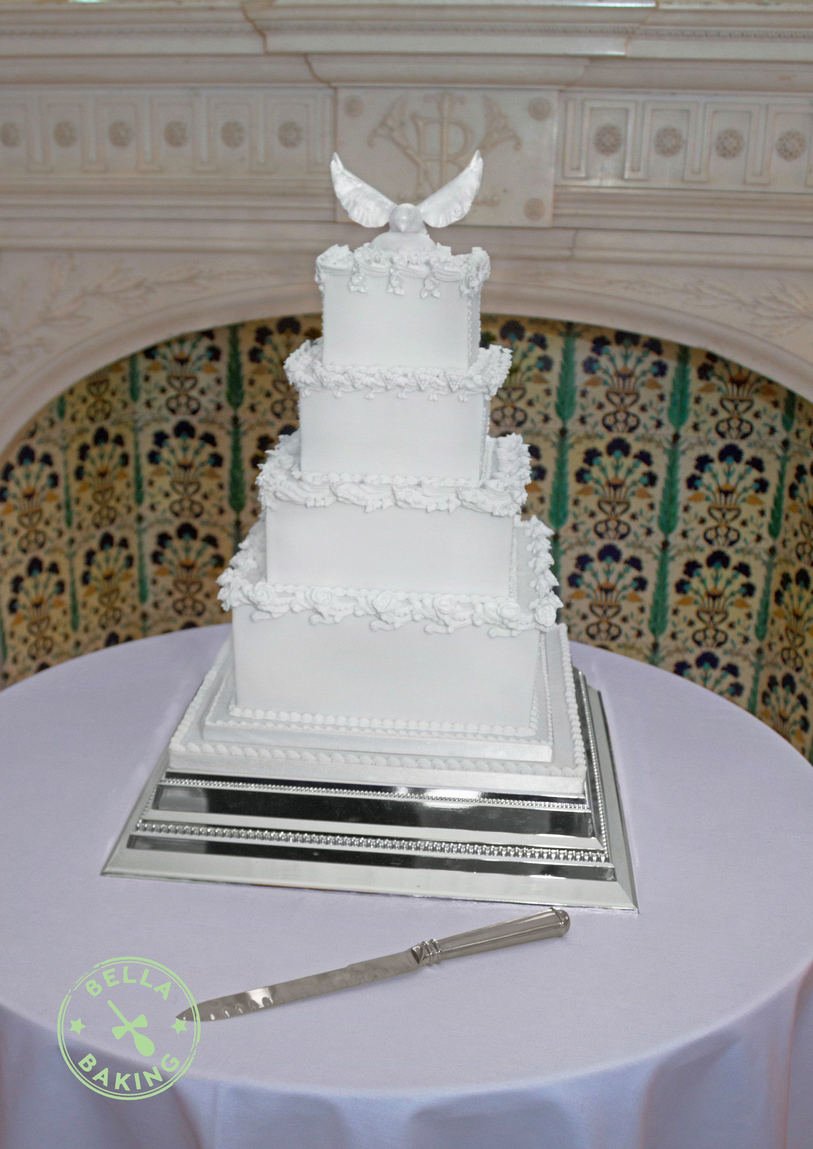 Wedding Cake Old English Style Royal Icing Over Piping And Modelled Winged Bird Topper Is Photographed In Situ At Osbourne House Isle Of Wight