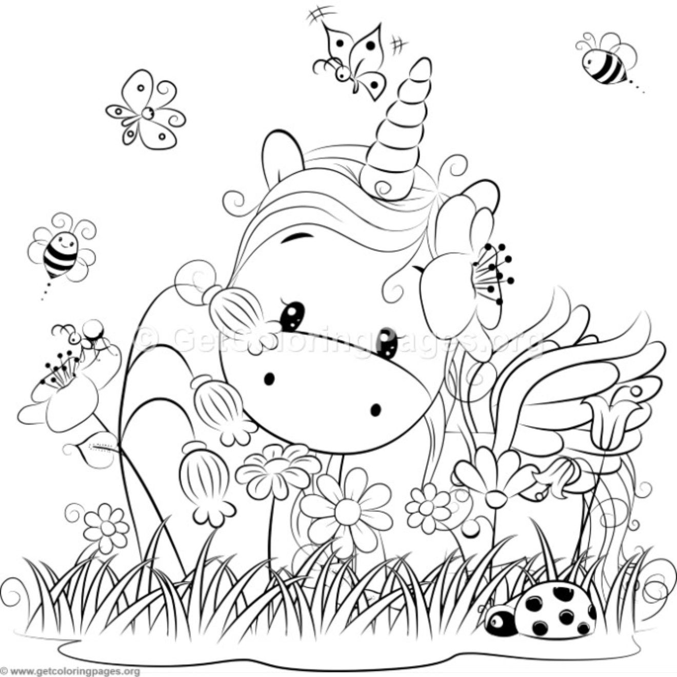 get coloring pages Cute Unicorn 3 Coloring Pages – GetColoringPages.| Unicorns  get coloring pages