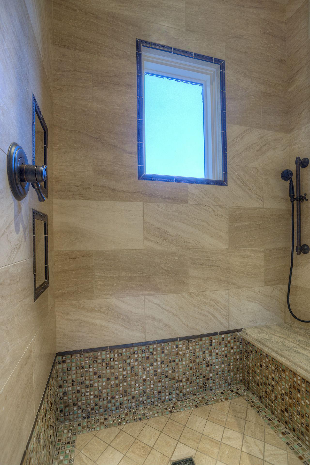 Custom Walk In Showers custom luxury walk-in shower with built-in bench and mosaic tile