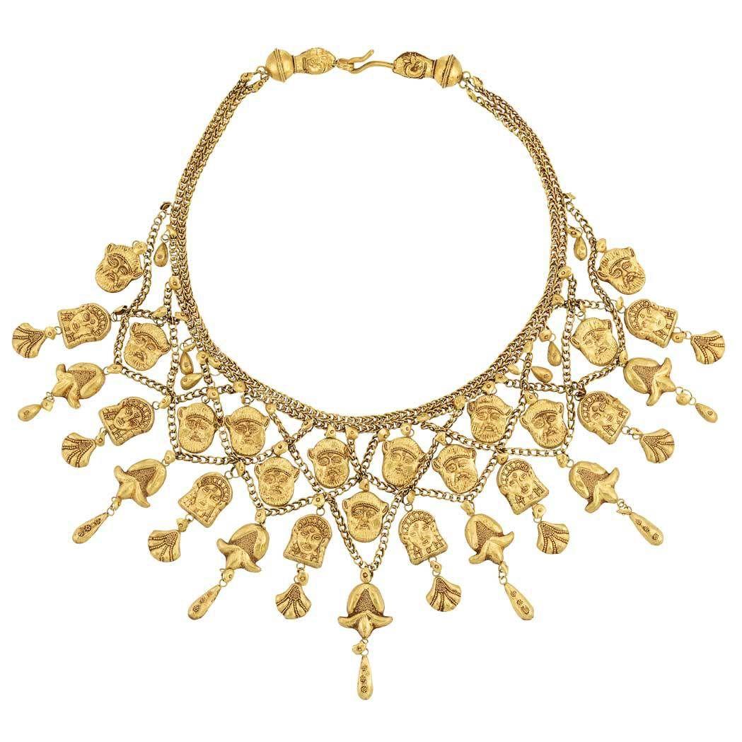 Lot high karat gold bib necklace egipt pinterest