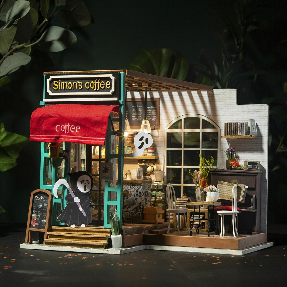 Rolife Coffee Shop Dollhouse with Wooden Furniture