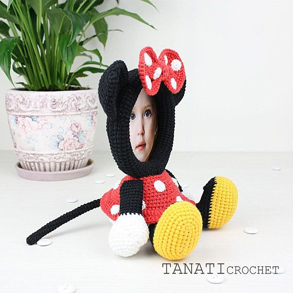 Crochet Pattern of Photo Frame MINNIE MOUSE (tutorial, PDF file ...