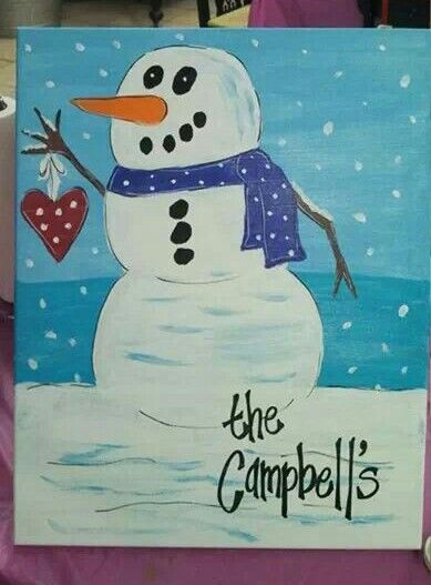 Snowman Canvas Painting Christmas Paintings On Canvas