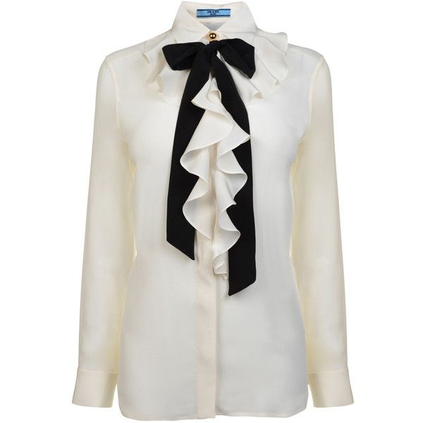 b34d1fc0651d0 PRADA Silk Frill Contrast Tie Shirt (450 AUD) found on Polyvore ...