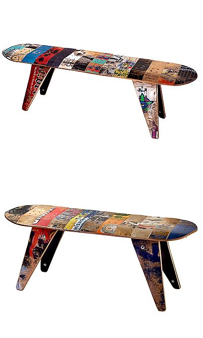 Skateboard Bench Long Skateboard Bench Reclaimed Skate Deck Furniture Handmade Uncommongoods Skateboard Furniture Skateboard Room Skateboard Art