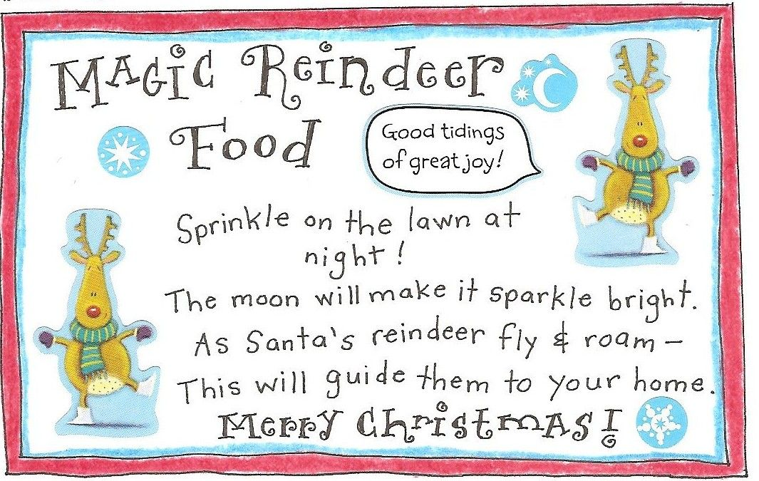 picture regarding Reindeer Food Labels Printable named Reindeer Entertaining and Free of charge Printable Magic Reindeer Food items Tag