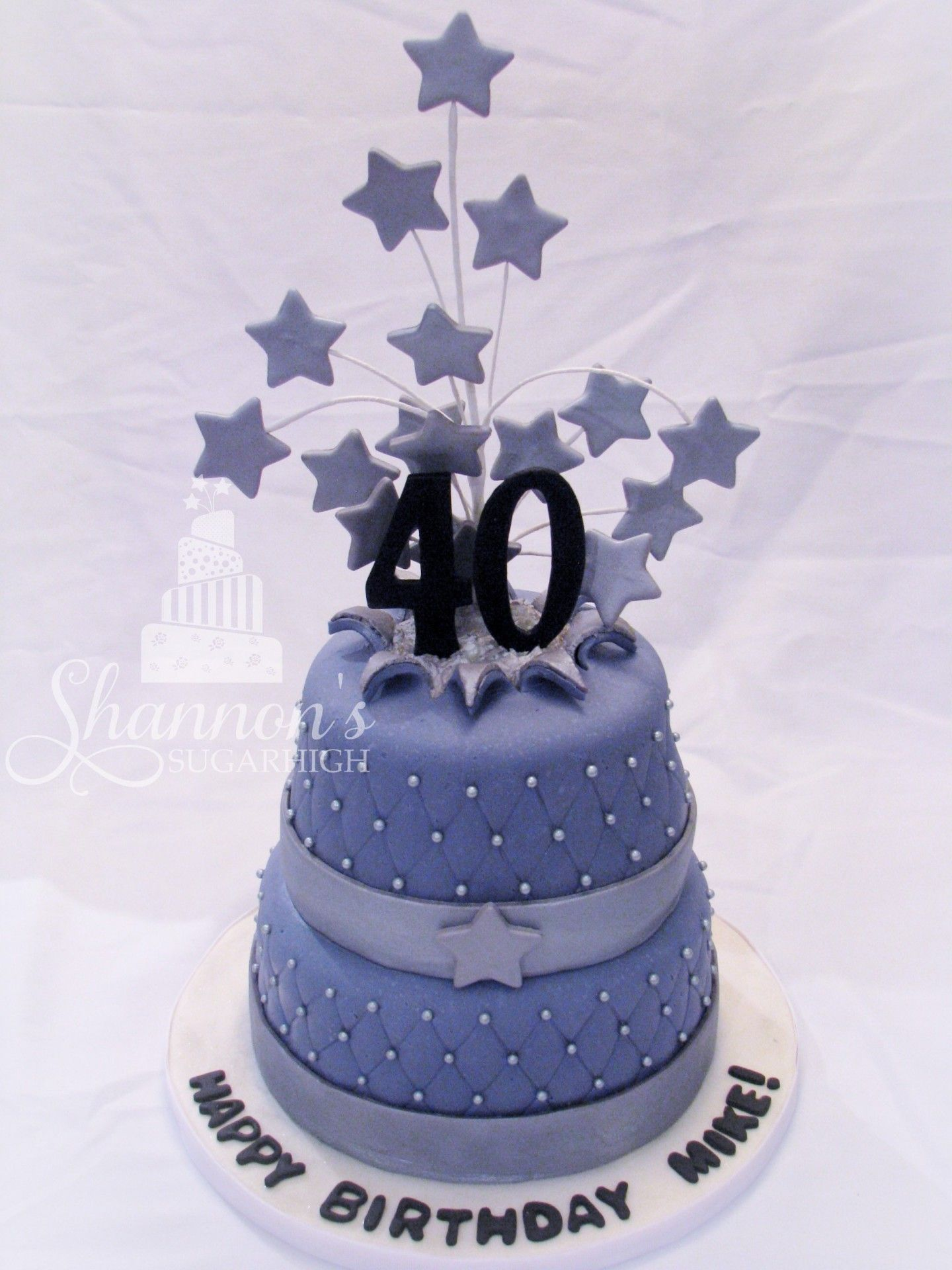 40th Birthday Cake 2 Tiered Fondant With Burst Effect And Quilting Is Lemon Frosted Buttercream Covered In