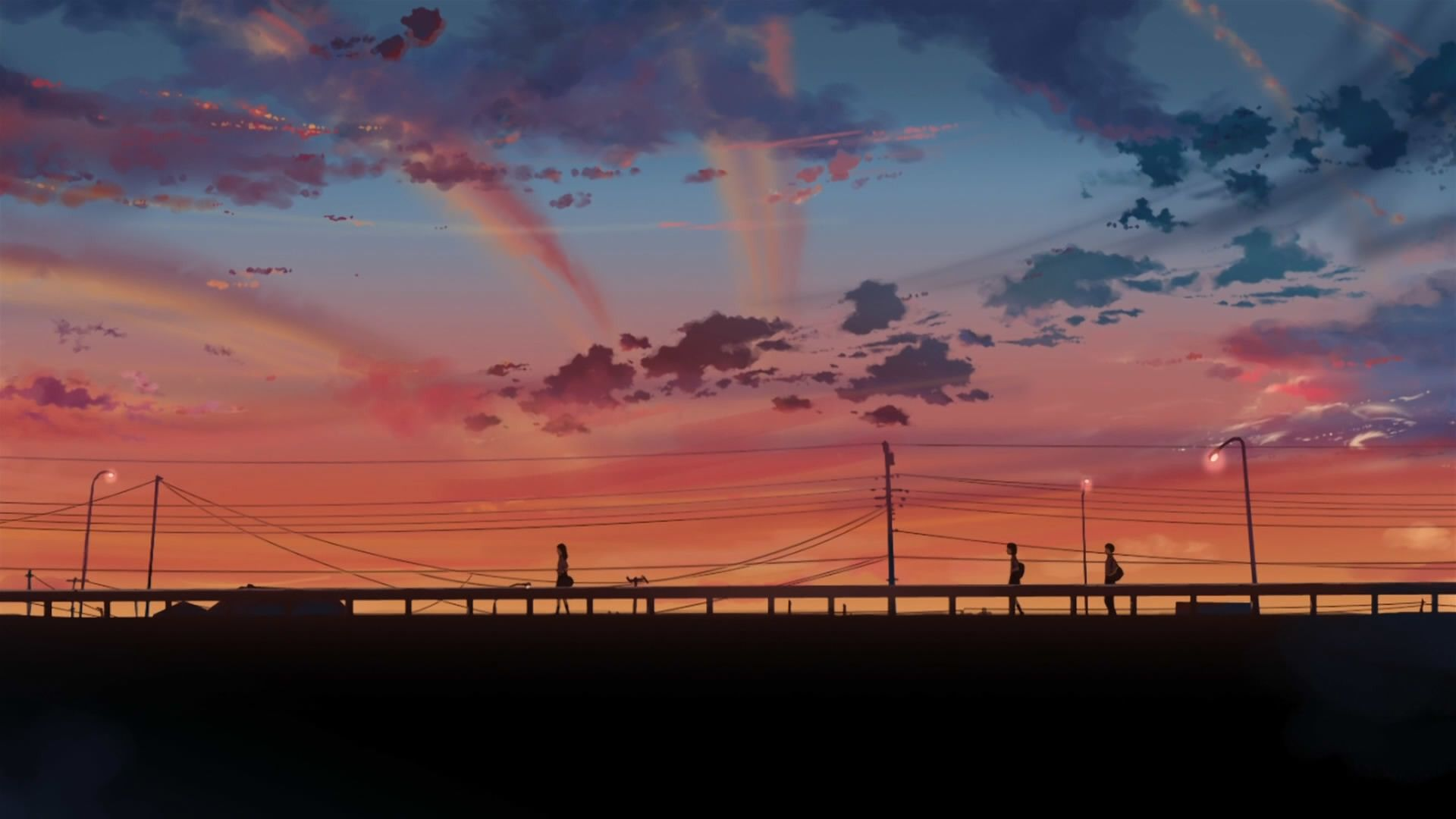 1920x1080 5 Centimeters Per Second Clouds Makoto Shinkai