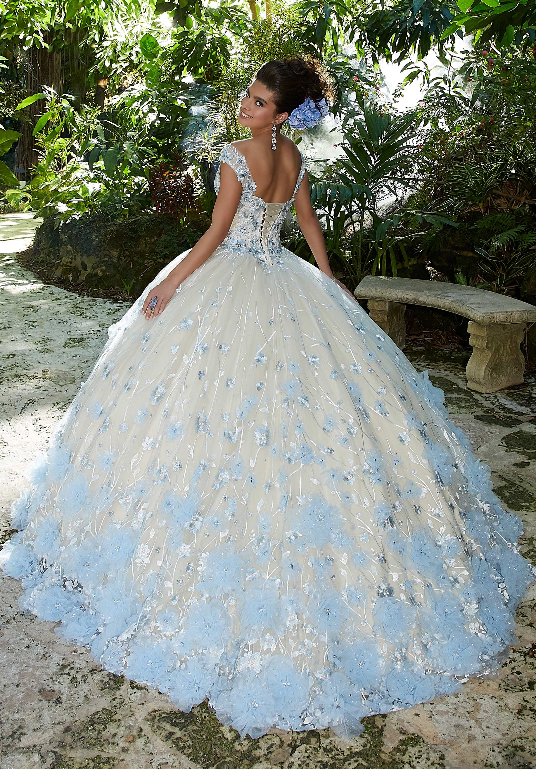 Light Blue Floral Quinceanera Dress By Morilee Morilee Style 34011 Pretty Quinceanera Dresses Quinceanera Dresses Blue Ball Gowns Wedding [ 2630 x 1834 Pixel ]