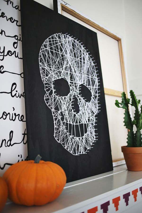 Skull String Art - 42 Last-Minute Cheap DIY Halloween Decorations - how to make homemade halloween decorations