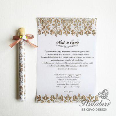 4979debe89 barna kémcsöves esküvői meghívó minta | Kémcsöves esküvői meghívók ...