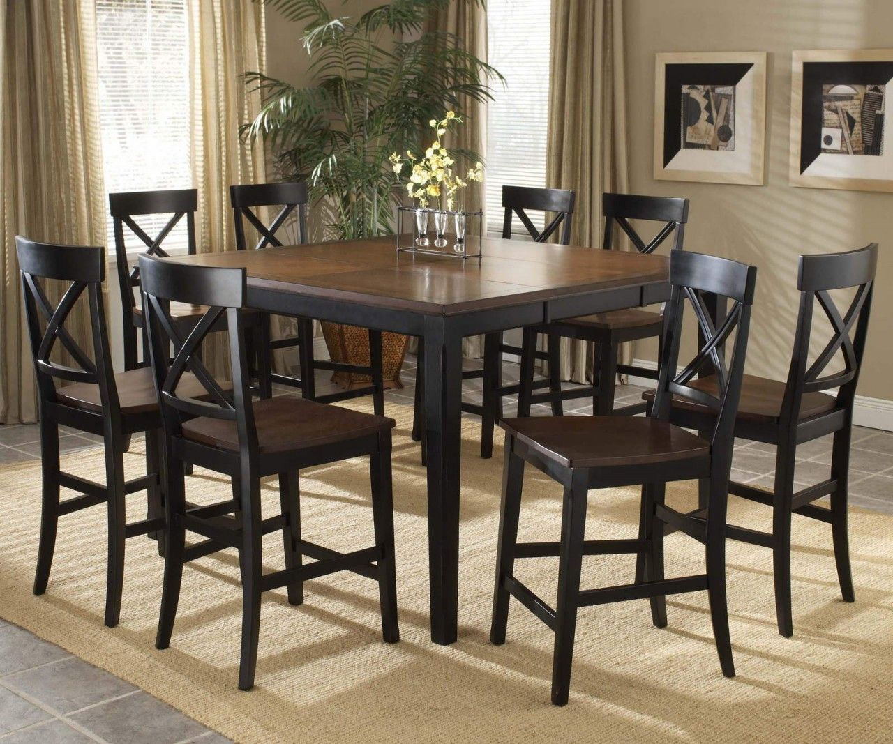 Hillsdale Englewood 9Pc Rectangle Counter Dining Room Set In Stunning Black And Brown Dining Room Sets Decorating Inspiration