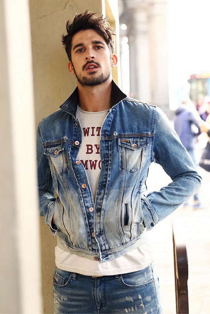 L&C's Leather Collar Denim Jacket. Men's Fashion fashion