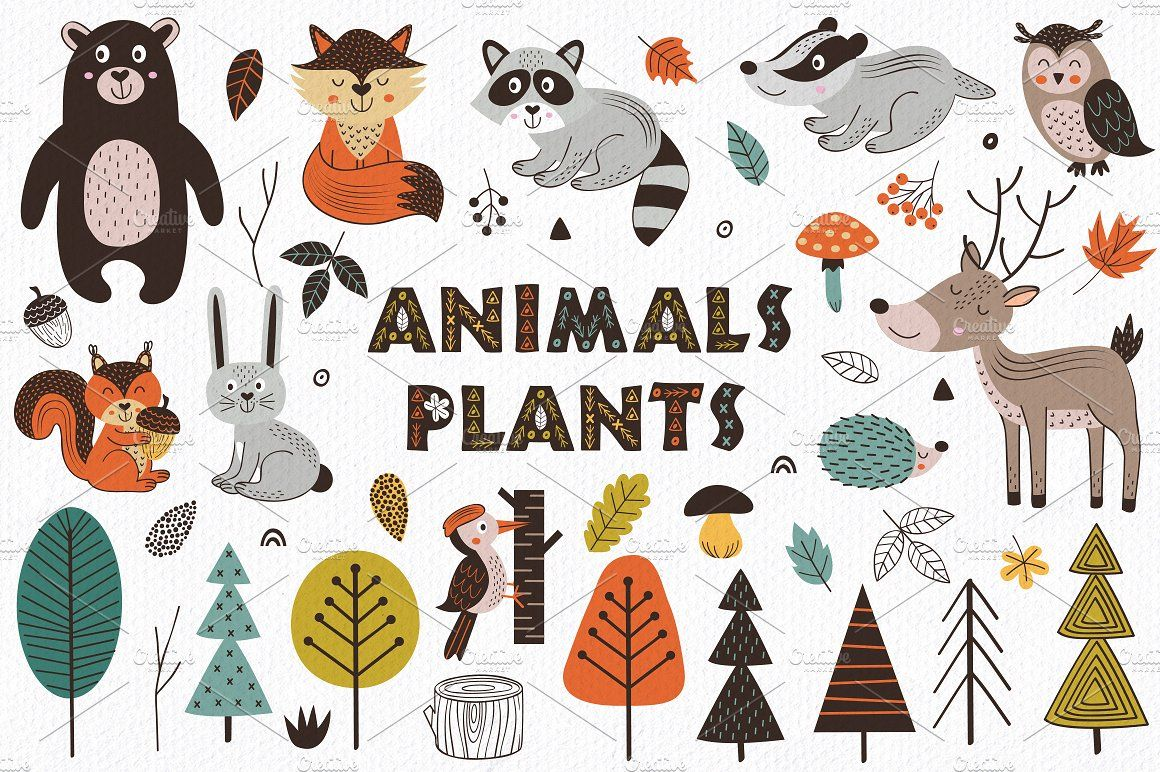 Forest Animals In Scandinavian Style Forest Animals Illustration Forest Animals Animal Illustration Kids