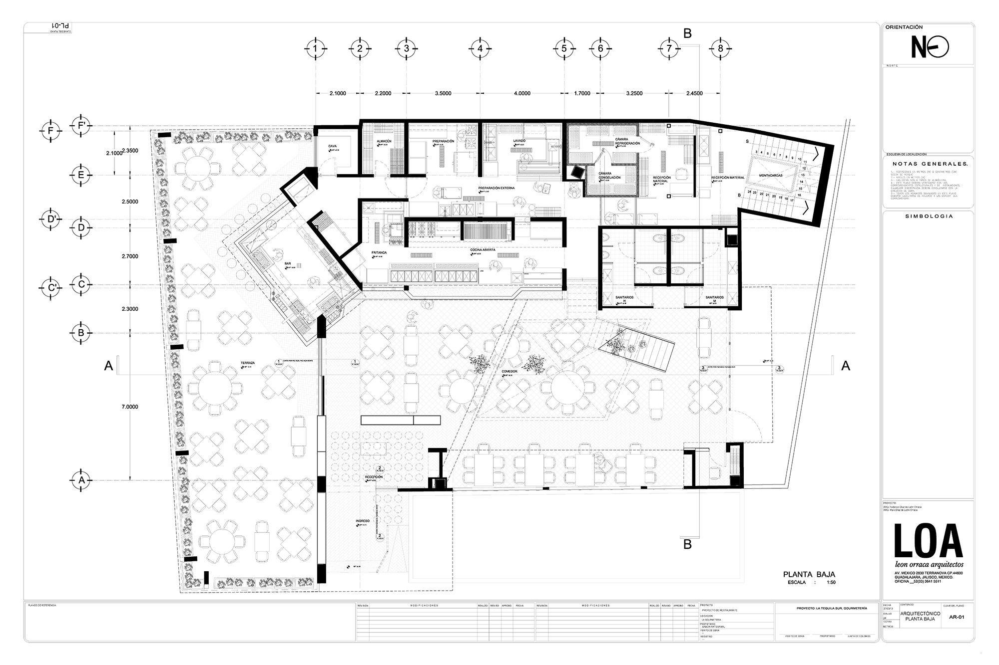 Galeria de restaurante la tequila sur loa 13 for Programa arquitectonico restaurante