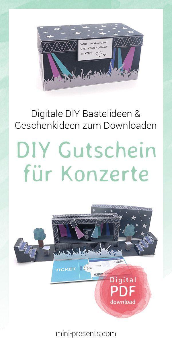 Photo of mini-presents | Gutschein für Konzertkarten als Geschenk ausdrucken & basteln | Geschenkideen & Party Deko zum Ausdrucken und Basteln.