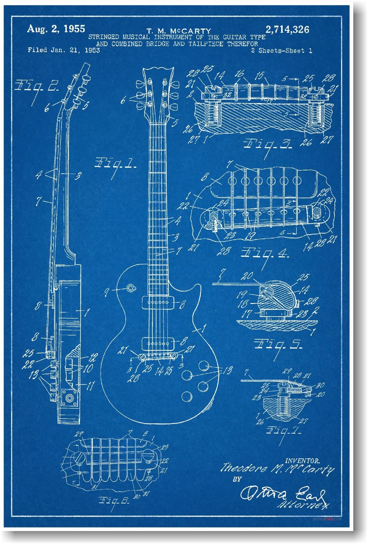 Amazon.com: Gibson Les Paul Guitar Patent - NEW Famous Invention ...