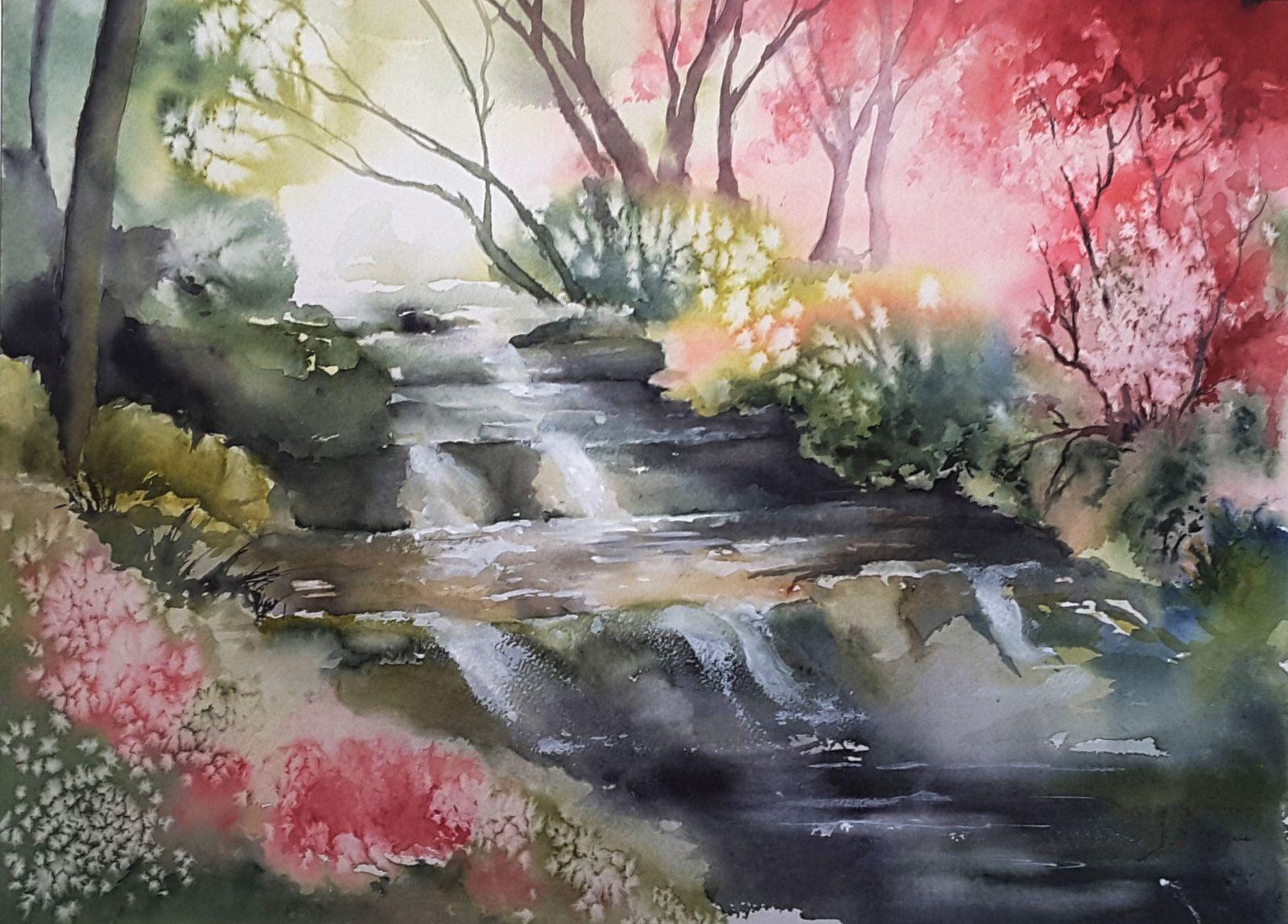 274 Juste Le Bruit De L Eau Qui Coule Mes Aquarelles Over Blog Com Paysage Le Chant Des Oiseaux Peinture