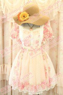 Super LIZ LISA the dream dot Shuiyu Polka Dot the pedicel printing openwork lace chiffon maid dress - Taobao