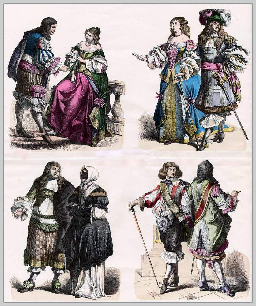 Baroque Fashion Of The Late 17th Century About 1590 French And Dutch Costumes Nobles In Court Dress Citizen Costume Cavaliers