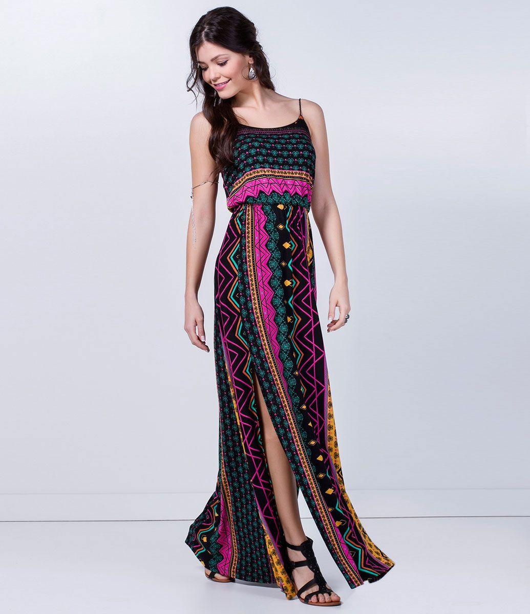 5dc92dad5 Vestido feminino Modelo longo Sem mangas Estampado Com fendas laterais  Marca: Blue Steel Tecido: