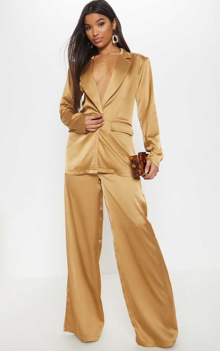 fe824281e2717 Gold Satin Wide Leg Trouser in 2019 | Products | Wide leg trousers ...