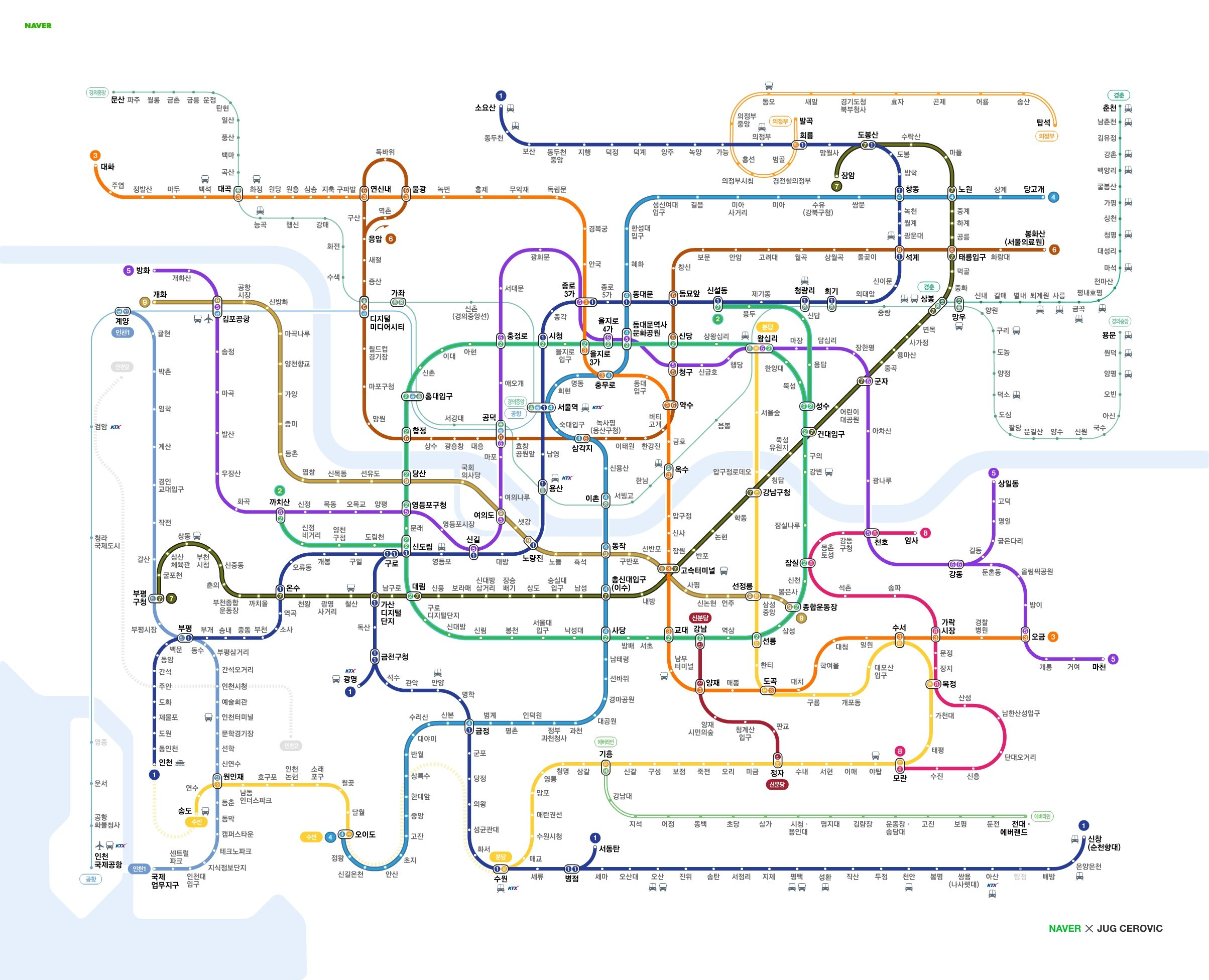 Seoul Metro Subway Map by Naver Pinterest Subway map and