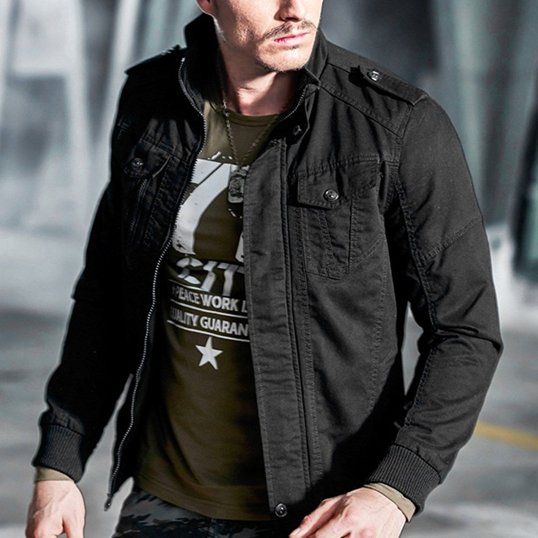 Men S Cotton Jacket Stand Collar Military Coat Windbreaker Black C91867a49kx Mens Lightweight Jacket Mens Outerwear Jacket Cotton Jacket [ 1500 x 1500 Pixel ]
