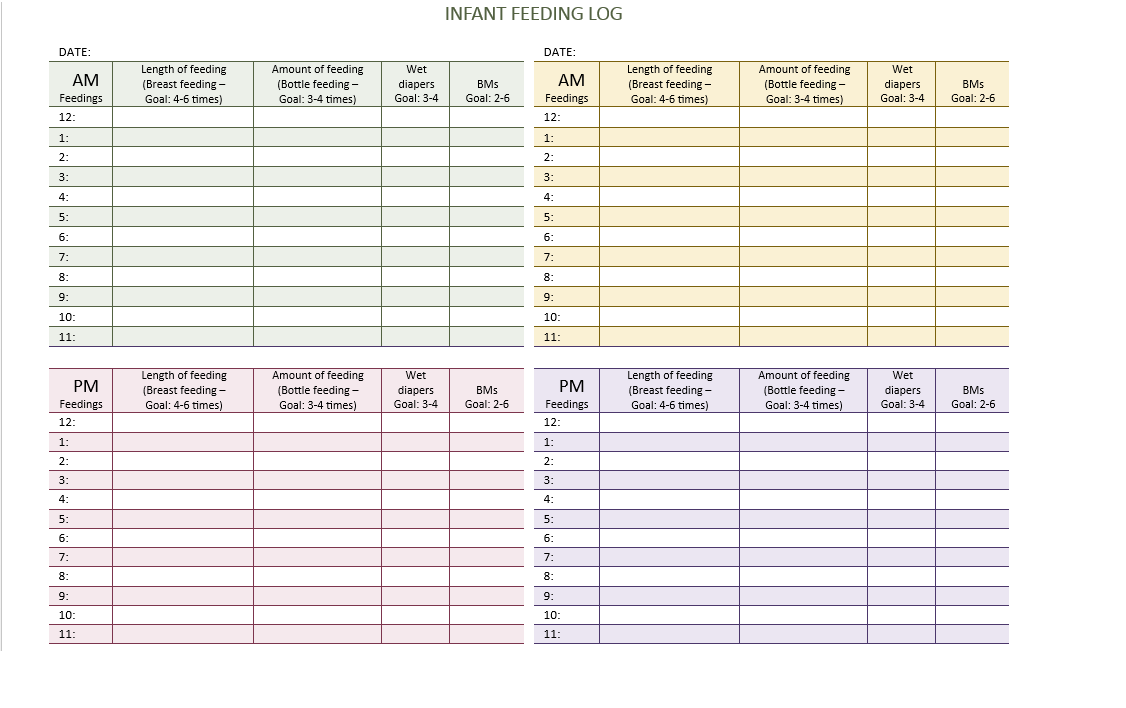 Infant Feeding Log Create Pre Made Template In Word Baby Records