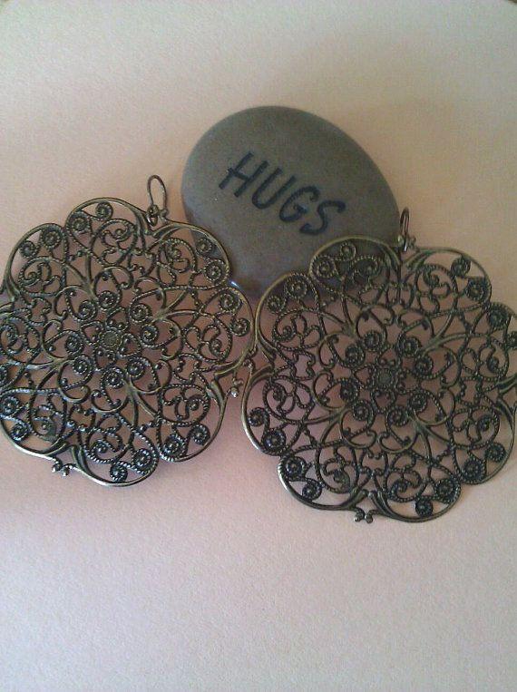 Handmade polished brass earrings by joannestanley13 on Etsy, $12.00