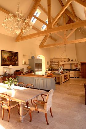 Chandeliers From The Ceiling In Living Area Barn Kitchen Barn Conversion Interiors Barn Living