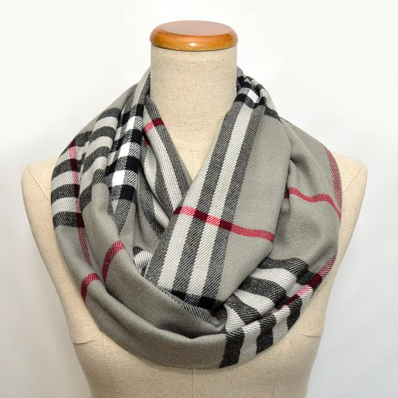 Gray plaid scarf by ScarfEco on Etsy