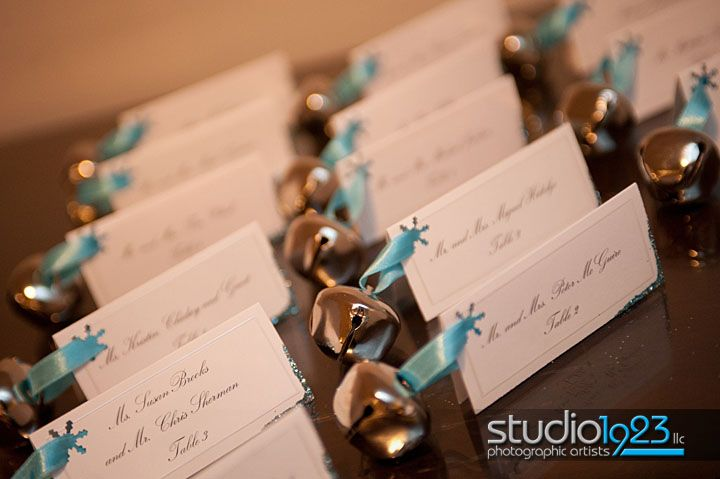 Jingle Bell Wedding Favors Cute Are These Placecards Tied With Blue Ribbon