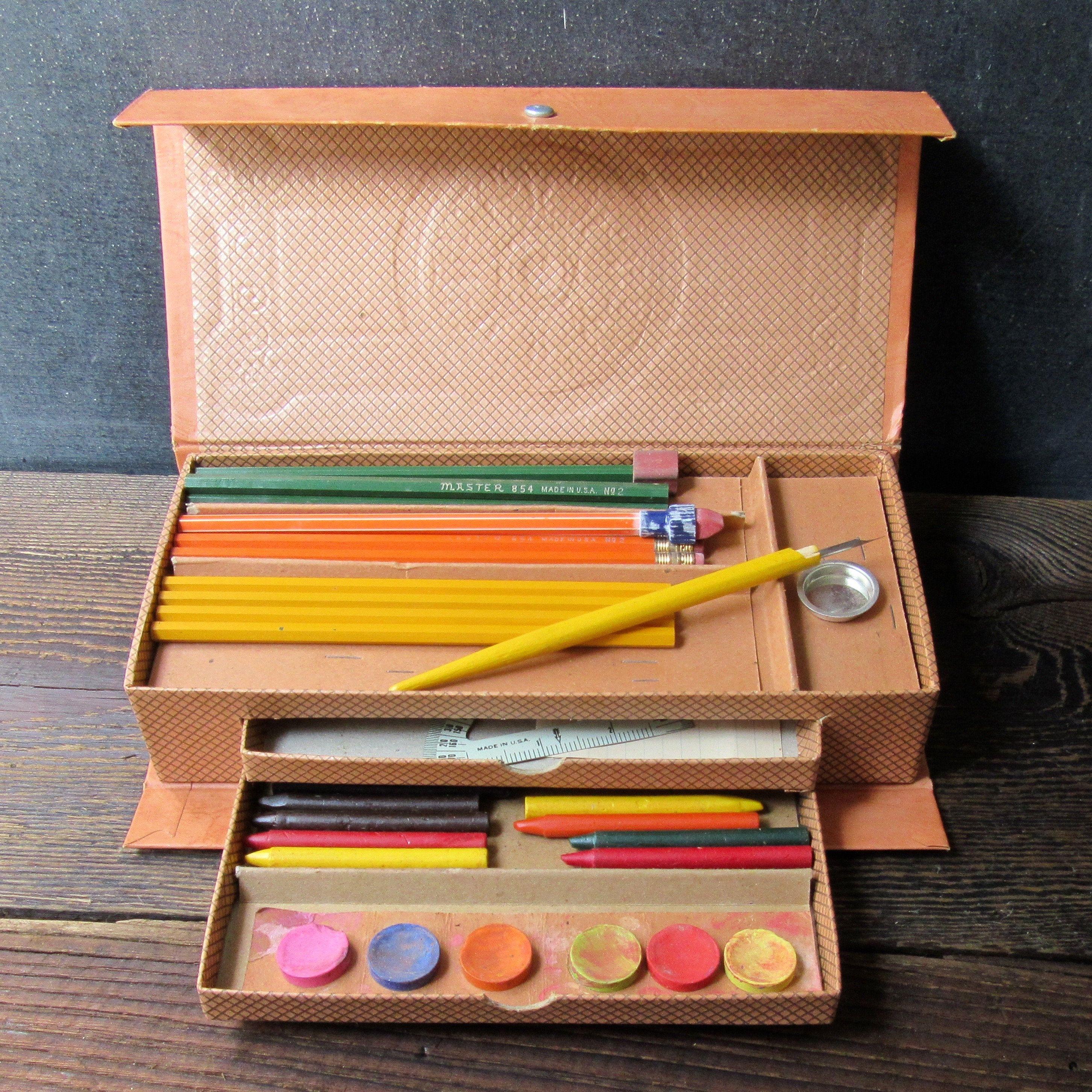 Vintage 1970/'s Handmade Wooden School Pencil Box