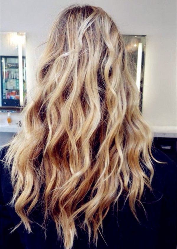 Brown ombre  balayage hairstyle, long wavy hair with highlight, from dark brown to