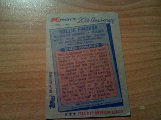 Rollie fingers rare kmart 20th anniversary topps card baseball rollie fingers rare kmart 20th anniversary topps card bookmarktalkfo Images