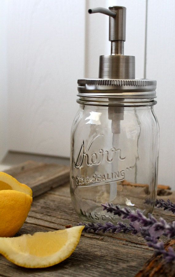 Country kitchen clear mason jar soap dispenser by for Mason jar kitchen ideas
