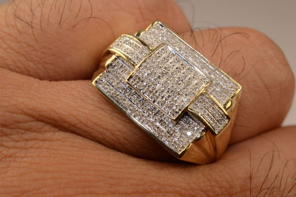 Men's Diamond 10K Gold Plated Pinky Rings Male Rings Men's Jewelry 0.50Ct #br925silverczjewelry #WeddingPinkyRing #WeddingEngagementAnniversaryBirthdayPartyGift