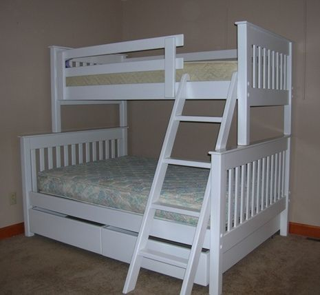 B031 Twin Full Stackable Bunk Bed Straight Mission Style
