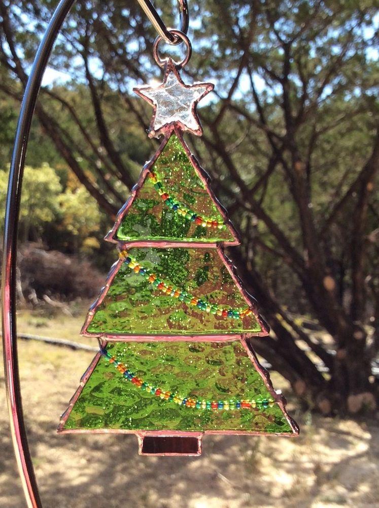 Stained Glass Christmas Tree ornament - suncatcher | Vitraux | Pinterest