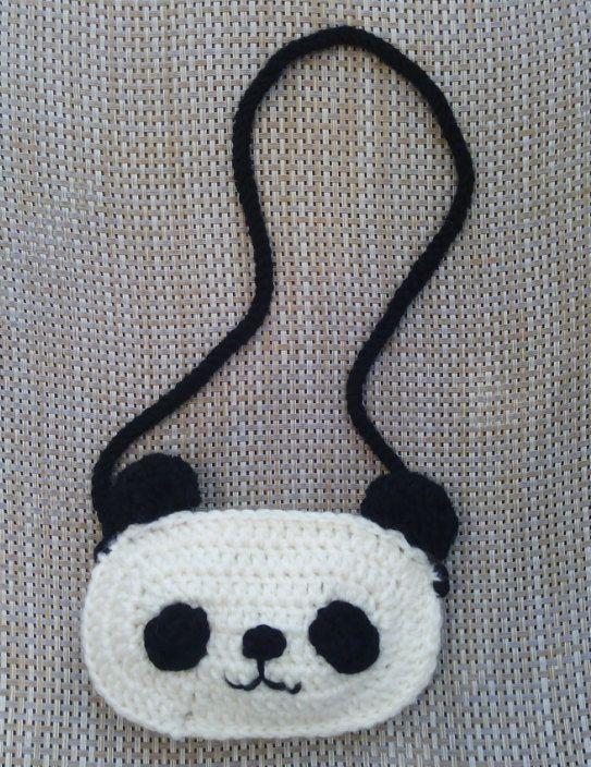 panda bag, long strap children\'s bag,crochet pouch,white and black ...