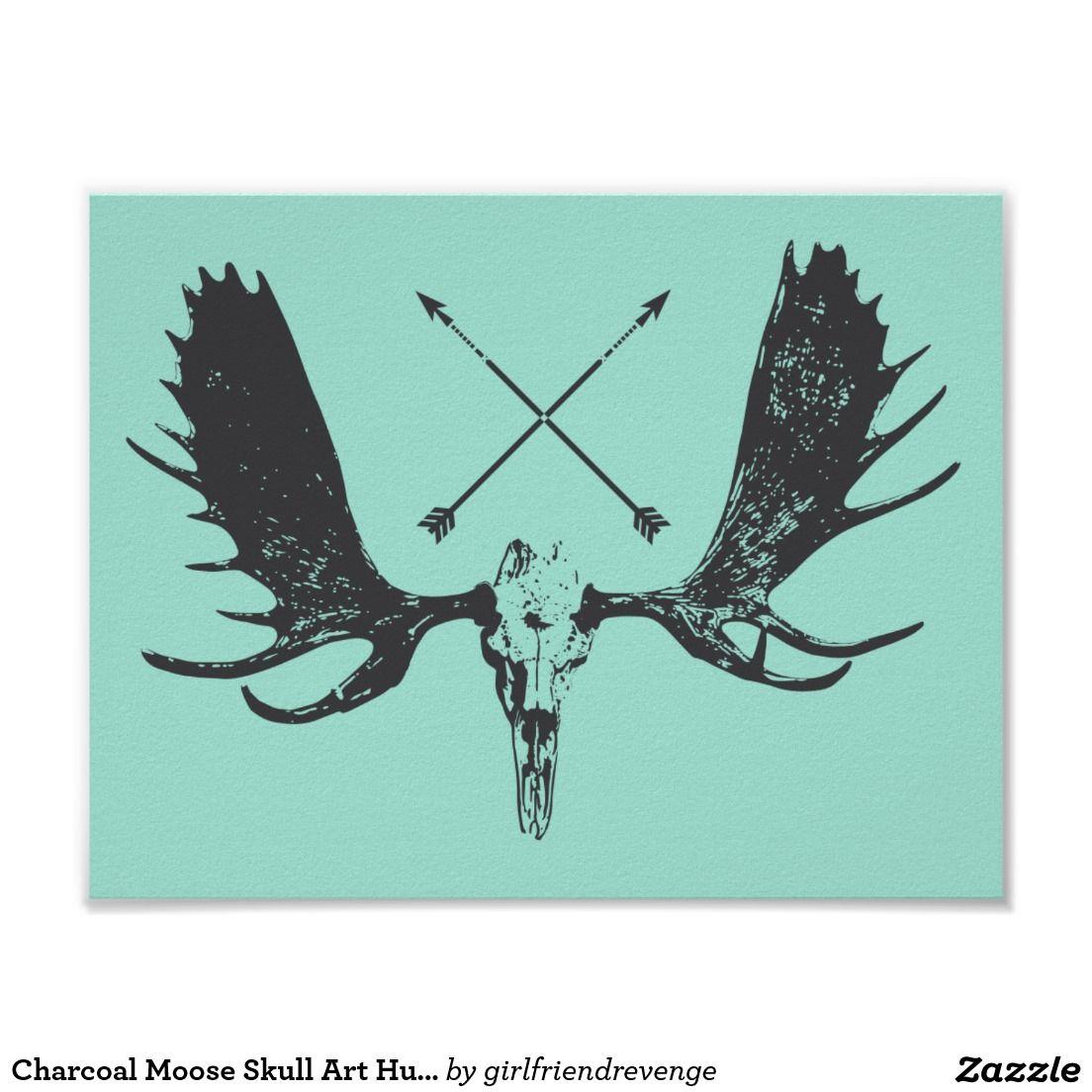 charcoal moose skull art hunter boho poster ink pinterest moose tattoo and tatting. Black Bedroom Furniture Sets. Home Design Ideas