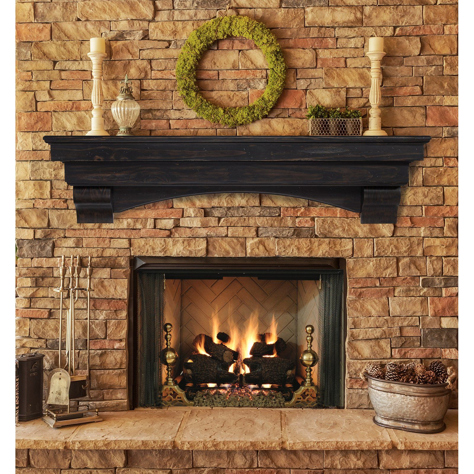 Pearl mantels celeste fireplace mantel shelf the pearl for Fire place mantel ideas