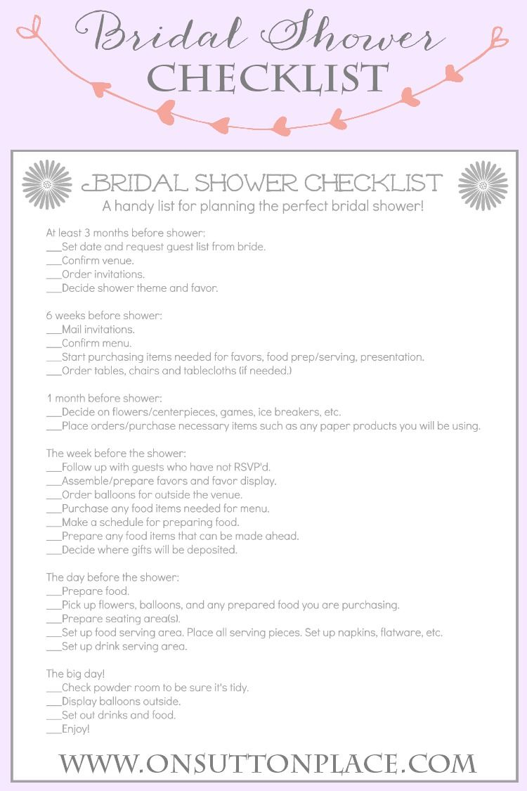 handy printable checklist to help plan the perfect bridal shower from onsuttonplacecom