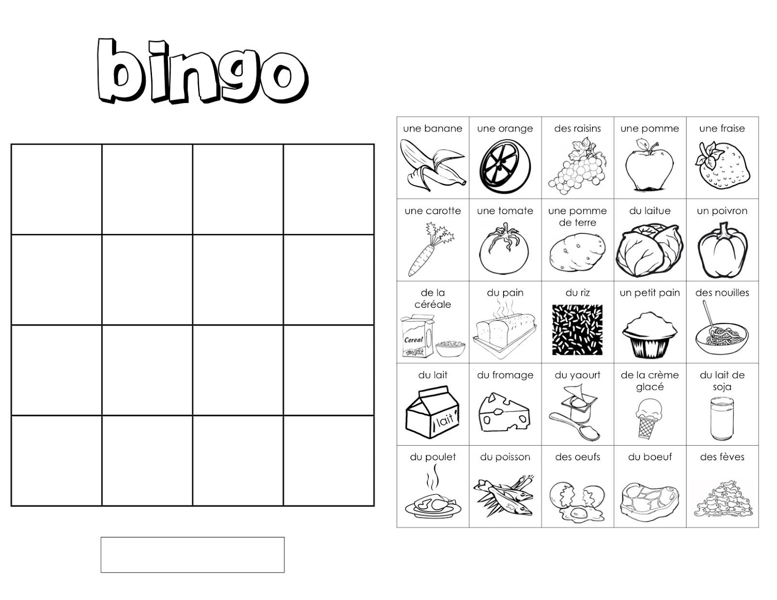 worksheet Bingo Worksheet 1000 images about school vocab la nourriture on pinterest vocabulary worksheets bingo and french