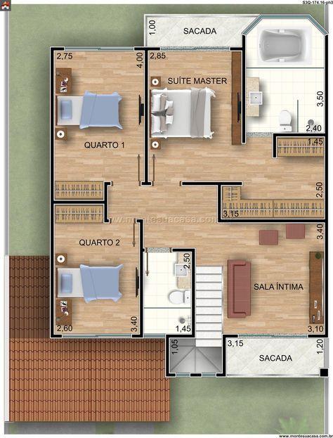 Sobrado 2 Quartos - 17416m² Projeto 12 Pinterest - plan maison plain pied 80m2