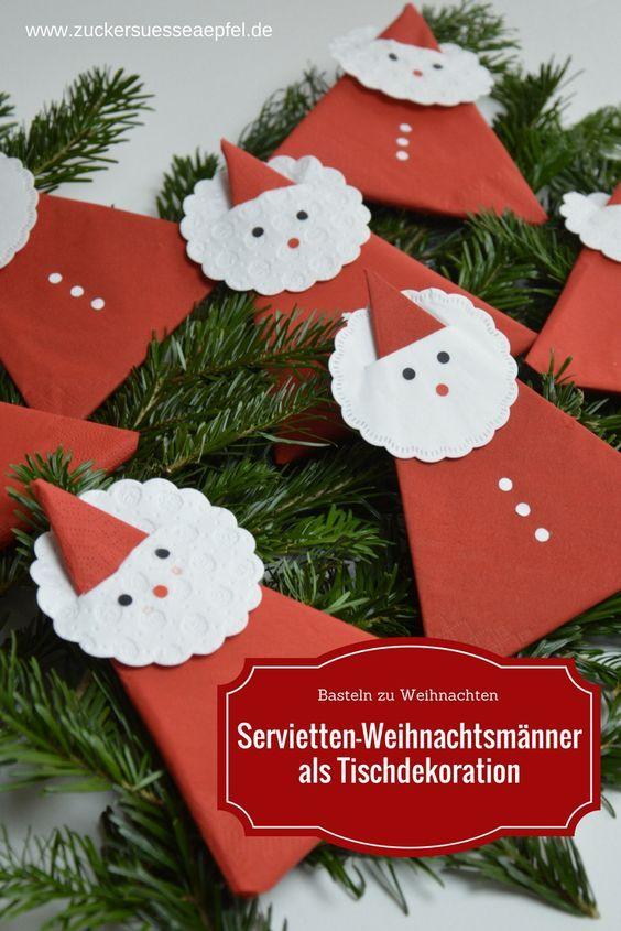 Eine Anleitung für süße Servietten-Weihnachtsmänner als Tischdekoration