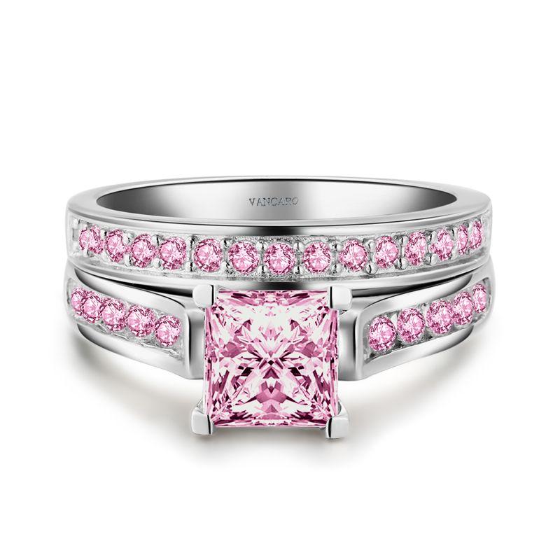 Princess Cut Pink Sapphire Engagement Ring Set/ Wedding Ring Set for ...